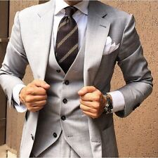 Men Light Gray Classic Suit Groom Tuxedos Wedding Suit Dinner Party Prom Custom