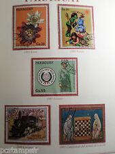 PARAGUAY, LOT timbres THEMES FLEURS, TRAIN, ECHECS, oblitérés, VF STAMPS