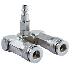 """Two Way Air Hose Compressor Swivel Splitter 1/4"""" NPT 360 Degrees Connector"""