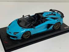 1/18 MR Collection Lamborghini Aventador SVJ Roadster Baby Blue Gold Wheels