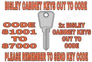Bisley Filing Cabinet Keys Cut to Code Number 81001-87000