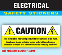 Pack of 50 Caution BS 7671  Strong Electrical Safety Stickers Labels 55 x 140mm