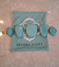 Gold Statement Bracelet Rare Vintage Kendra Scott Turquoise Blue Stone Petra