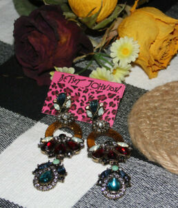 Betsey Johnson ~ Multi Color Crystals Post Drop Dangle Earrings ~ New ~ GO#22