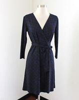 Ann Taylor Black Blue Geometric Printed Tie Wrap Dress Size 0 Casual Office