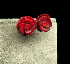 Pendientes con Grandes Rosas Talladas de Coral. Plata 1ª Ley .925 Nuevos.