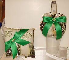 1 John Deere Flower Basket,1 Ring Pillow Custom Ribbon Colors