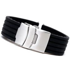 20mm High Quality Black Silicone Rubber Sport Watch Band Strap Promo rd2001 bid