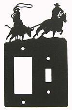 Team Roping Steer Rodeo Horse Black Metal Switch & Rocker Plate