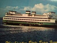 VINTAGE POST CARD THE SUPER CLASS WASHINGTON STATE FERRY PUGET SOUND FERRIES