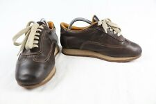 Hermes Brown Leather H Logo Sneakers Shoes Size 40.5 Italy