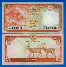 Nepal P-New 20 Rupees Year 2015 Mount Everest 2 Deer Uncirculated Banknote