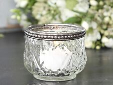 Candle Tea Light Holder Clear Diamond Cut Glass Vintage Style Silver Top Band