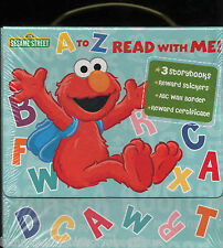 A to Z READ WITH ME! Sesame Street BOXED SET Books STICKERS New LOT Elmo ABC