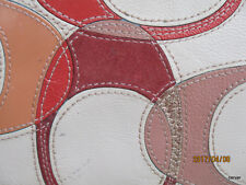 "Coach Wristlet New w/o Tags Inlaid ""C"" Patent Leather Peach/Metalic Multi Large"