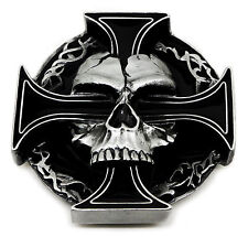 Skull Belt Buckle Skull & Cross Skeleton 3D Heavy Gothic Authentic Pagan Product