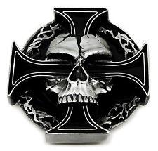 Hebilla de cinturón cráneo Calavera Y Cruz Esqueleto 3D pesado producto auténtico Gótico Pagano