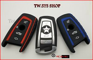 Silicone Fob Key Case Cover for BMW F10,20,30 with 4 Buttons ☆RED OR BLUE☆