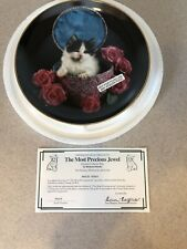 The Most Precious Jewel Plate Coming Up Roses Richard Stacks Black White Kitten
