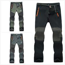 Men Winter Outdoor Hike Ski Pants Fleece Padded Windproof Waterproof Trousers I1