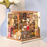 Robotime DIY Study Room Dollhouse Model Furniture LED Miniature Toy Home Decor