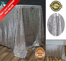 "Sequin Rectangular Tablecloth 60x102"" Silver for Wedding Birthday Party Buffet"