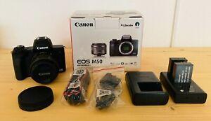 Canon EOS M50 Kamera mit Objektiv 15-45mm + Zubehörpaket - WIE NEU