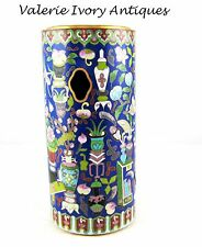 "Antique Chinese Fine Cloisonne Cylinder HAT Holder – 12"" - Keyhole - 1900"