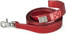 """LazyBonezz Classic Durable Red Faux Leather Dog Leash with Metal Clasp 48"""" L"""
