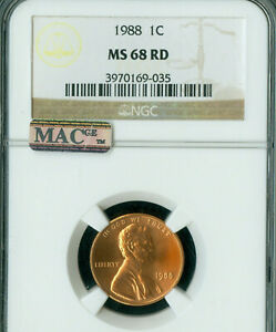 1988 LINCOLN MEMORIAL CENT NGC MS68 RD PQ MAC 2ND FINEST GRADE MAC SPOTLESS *