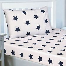 NAVY BLUE AND WHITE STARS SINGLE FITTED SHEET & PILLOWCASE - 2 PIECE SET