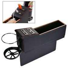 Black PU Leather Organized Car Left Seat Catch Storage Box Cup Mount w/ USB Port