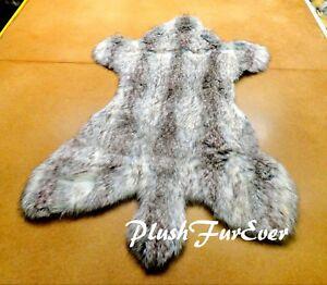 6' 7' Silver Wolverine Fur/ PlushFurEver Rugs / Faux Fur Rug/ Wolf Coyote Skin