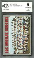 1970 topps #411 LOS ANGELES DODGERS team card BGS BCCG 9