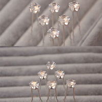 20PCS Clear Rhinestone Crystal Diamante Wedding Bridal Prom Hair Pins Hairpin