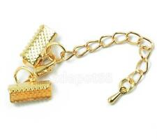 12pcs Gold Cord Crimp Ends Lobster Clasp Extender Chain Jewelry Findings DIY