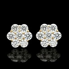 3CT Brilliant Created Diamond Cluster Earrings 14K Yellow Gold 7-Stone Studs