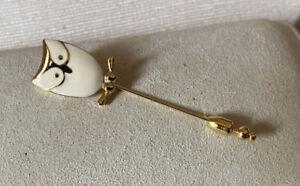 Vintage Signed Crown Trifari Figural Owl Bird Rhinestone Enamel Stickpin