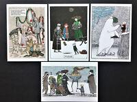 NEW Edward Gorey Christmas Holiday Cards 5x7 SET OF 4 Weird Bizarre Gothic Cat