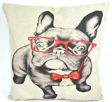 French Bulldog Frenchie Glasses Bow-tie Decorative Pillow Cover Dog Hipster New