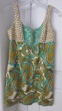 Milly of New York Golden Metallic Silk Green Paisley Shift Lined Sz 6 Dress