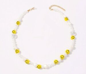 Seed Pearl Style Smiley Face Necklace 90s Other Bloggers Stories