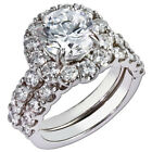 Round Cut Diamond Valentine's Day Special Band Set Ring Solid White Gold 1.90 Ct