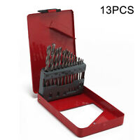 13Pc Hammer Drill Bit Set High Speed Hss Cobalt + Case For Metal Plastic Wood