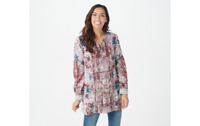 Tolani Collection Regular Printed Woven Tunic w/ Pleat Detail Ivory L A354804 QV