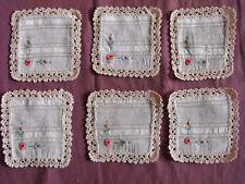 #1517  Beautiful Vintage Embroidered 6 Linen Doilies 13cm/12cm(5''x4.5'')