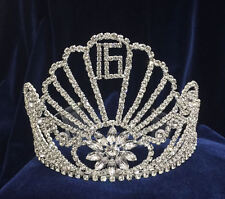 "Crystal Clear Rhinestones Tiara Sweet 16 w/Combs.Silver Plated Crown.  4.5"" Tall"