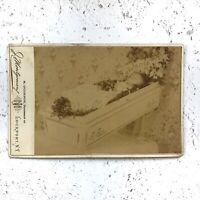 Post Mortem photo, Victorian Cabinet Card, child in casket