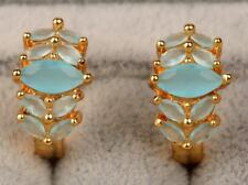 18K Yellow Gold Filled - Opal Blue Topaz Zircon Flower Cat Eye Gemstone Earrings