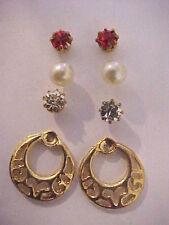 Gold Loop Heart Earrings Backer Stud SET 3 Faux Pearl Crystal Red Crystal